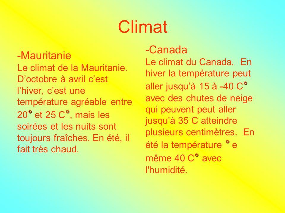 Climat -Canada -Mauritanie Le climat du Canada. En