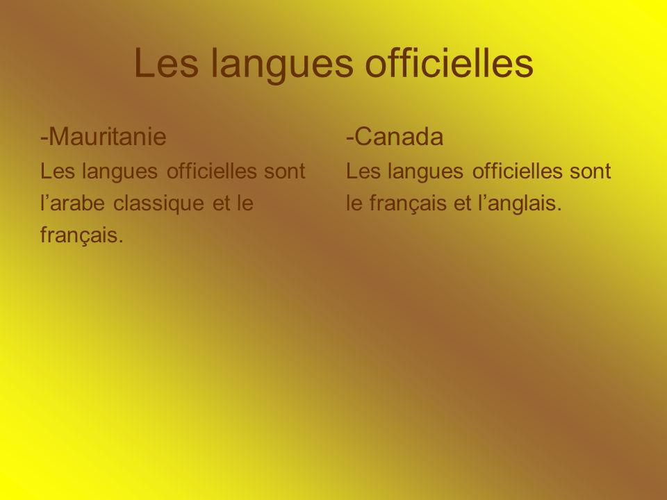 Les langues officielles