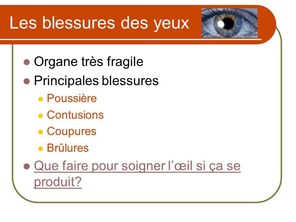 Les blessures des yeux Organe très fragile Principales blessures