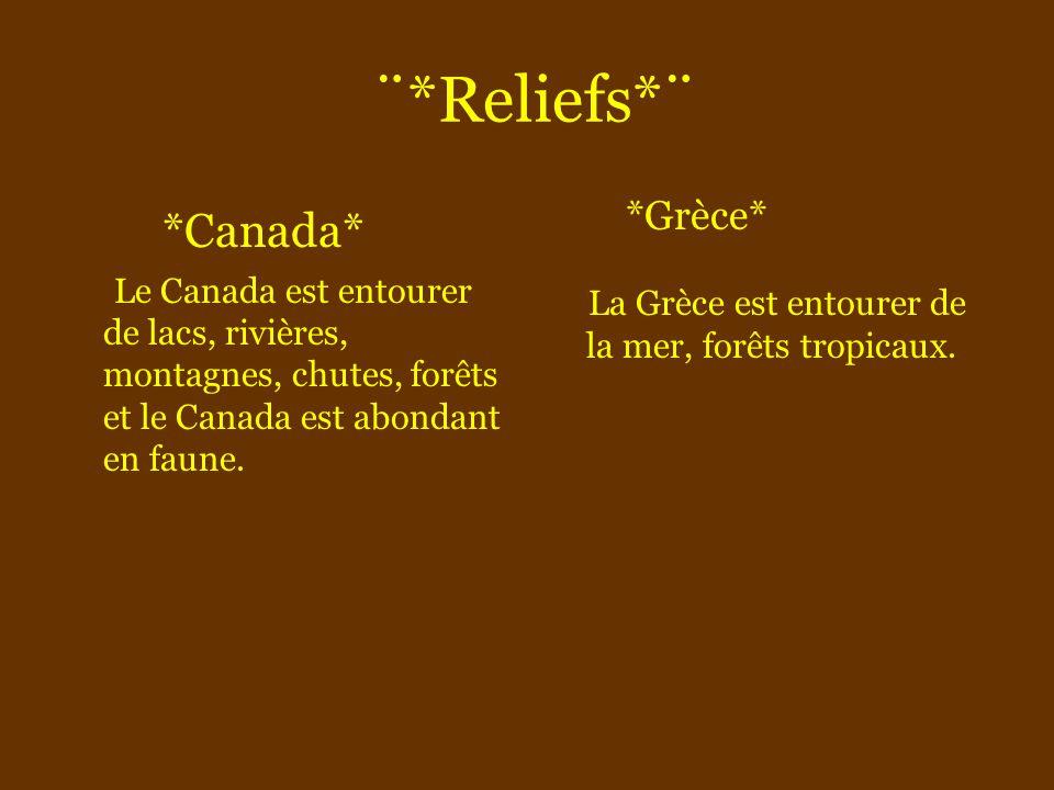 ¨*Reliefs*¨ *Canada* Le Canada est entourer de lacs, rivières, montagnes, chutes, forêts et le Canada est abondant en faune.