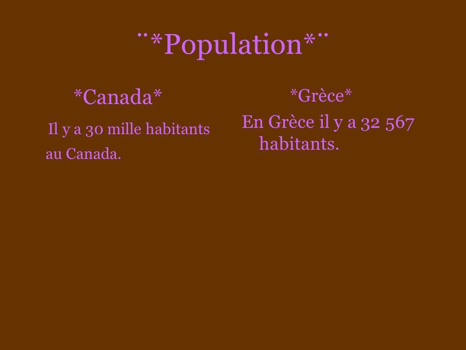 ¨*Population*¨ *Canada* Il y a 30 mille habitants au Canada. *Grèce*