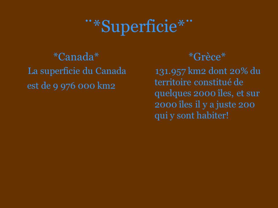¨*Superficie*¨ *Canada* *Grèce*