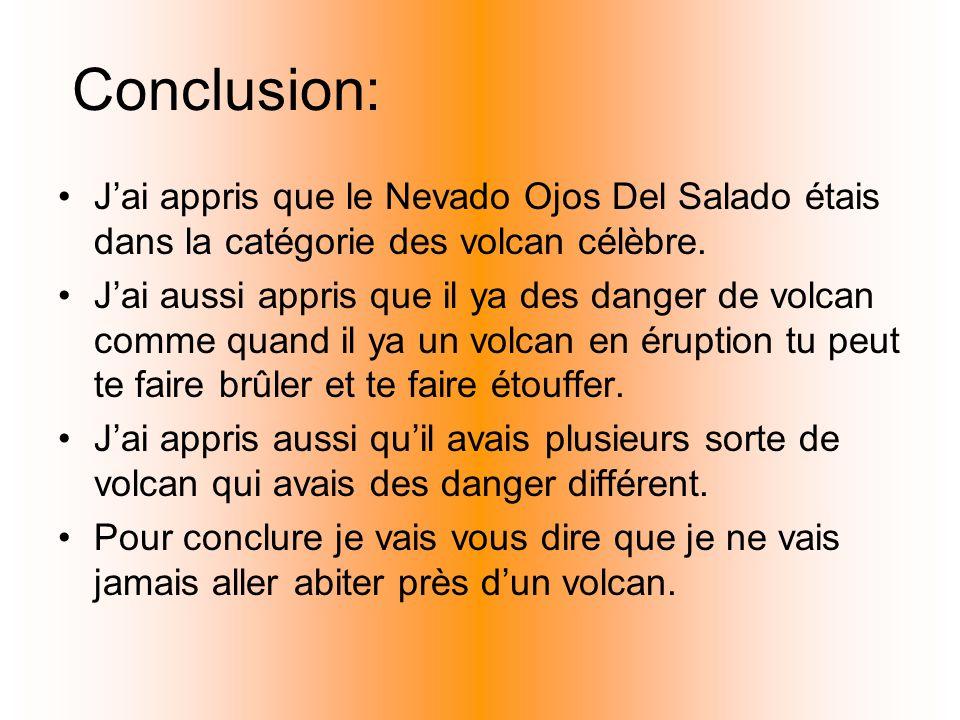 Conclusion: J'ai appris que le Nevado Ojos Del Salado étais dans la catégorie des volcan célèbre.