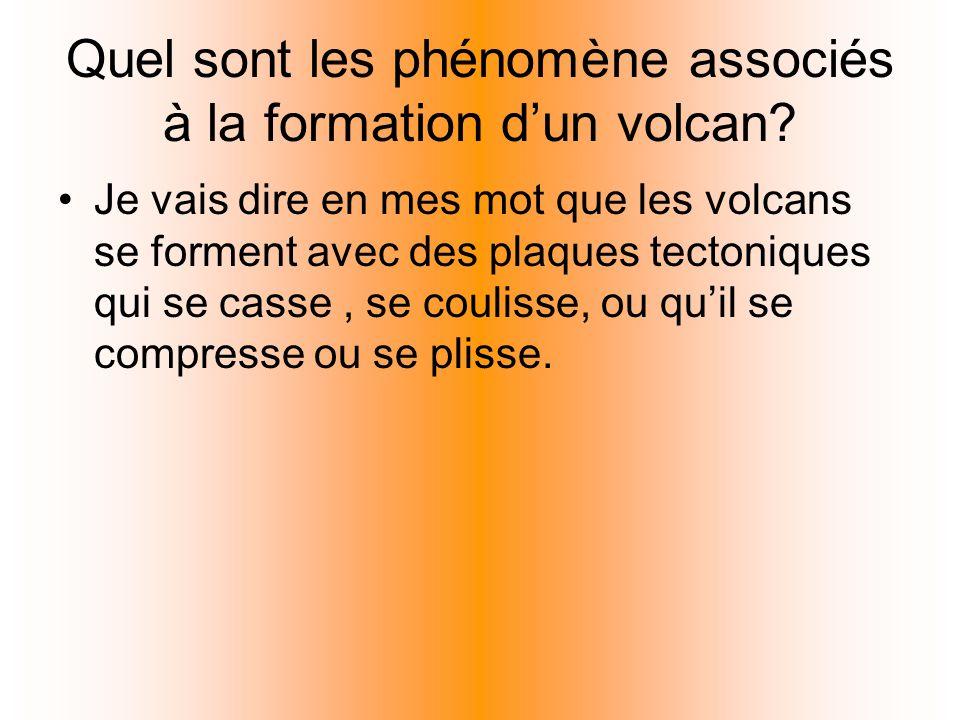 Quel sont les phénomène associés à la formation d'un volcan