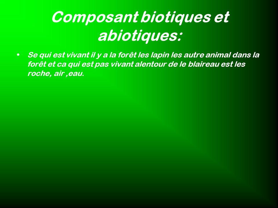 Composant biotiques et abiotiques:
