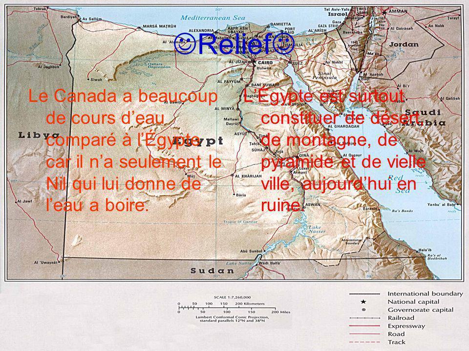 Relief Le Canada a beaucoup de cours d'eau comparé à l'Égypte car il n'a seulement le Nil qui lui donne de l'eau a boire.