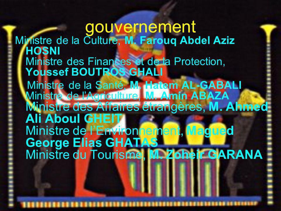 gouvernement Ministre de la Culture, M. Farouq Abdel Aziz HOSNI Ministre des Finances et de la Protection, Youssef BOUTROS GHALI.