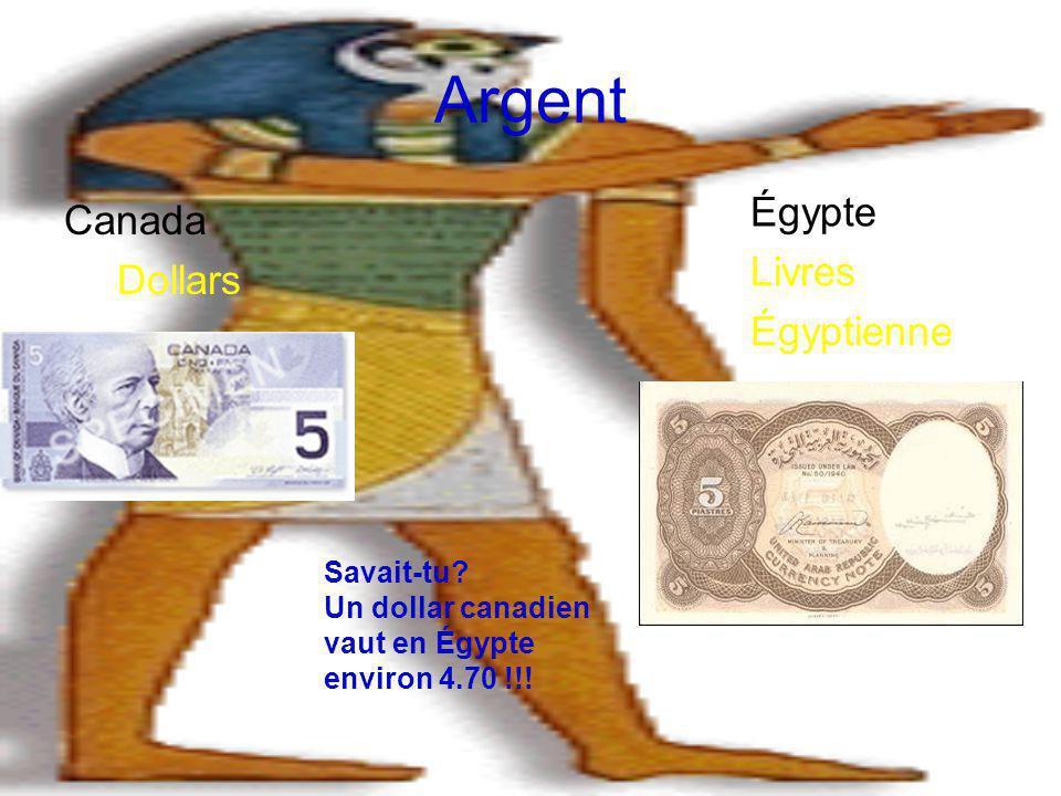 Argent Égypte Canada Livres Dollars Égyptienne Savait-tu