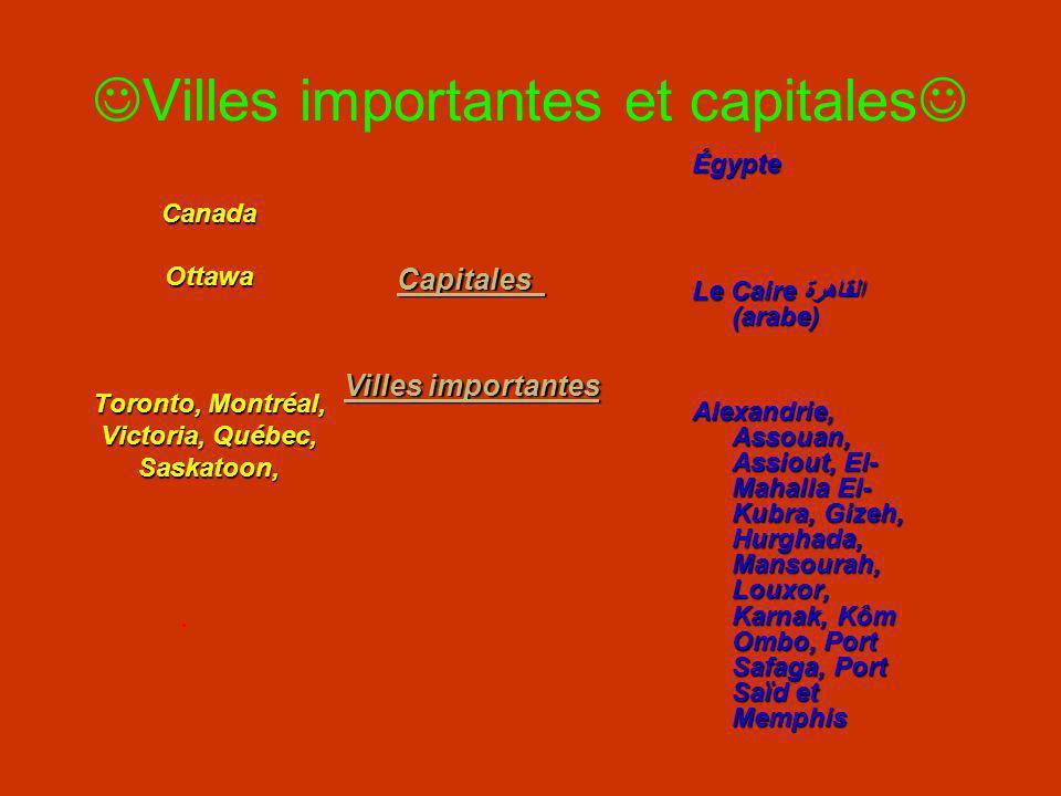 Villes importantes et capitales