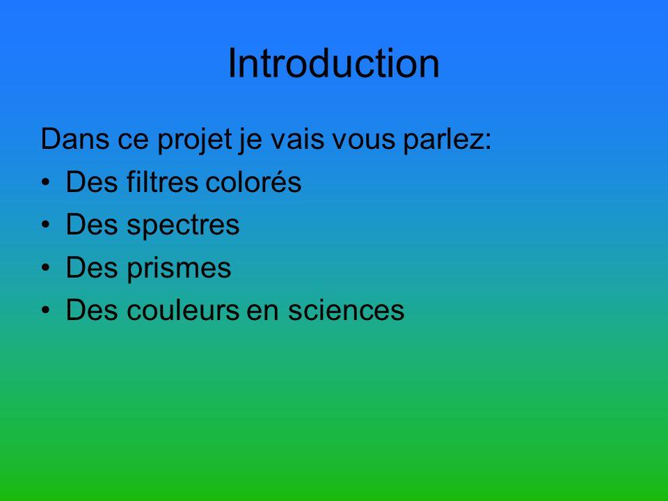 Introduction Dans ce projet je vais vous parlez: Des filtres colorés
