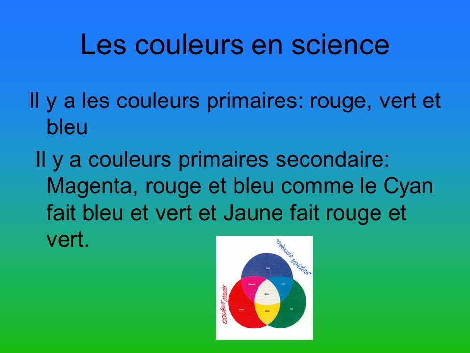 Les couleurs en science