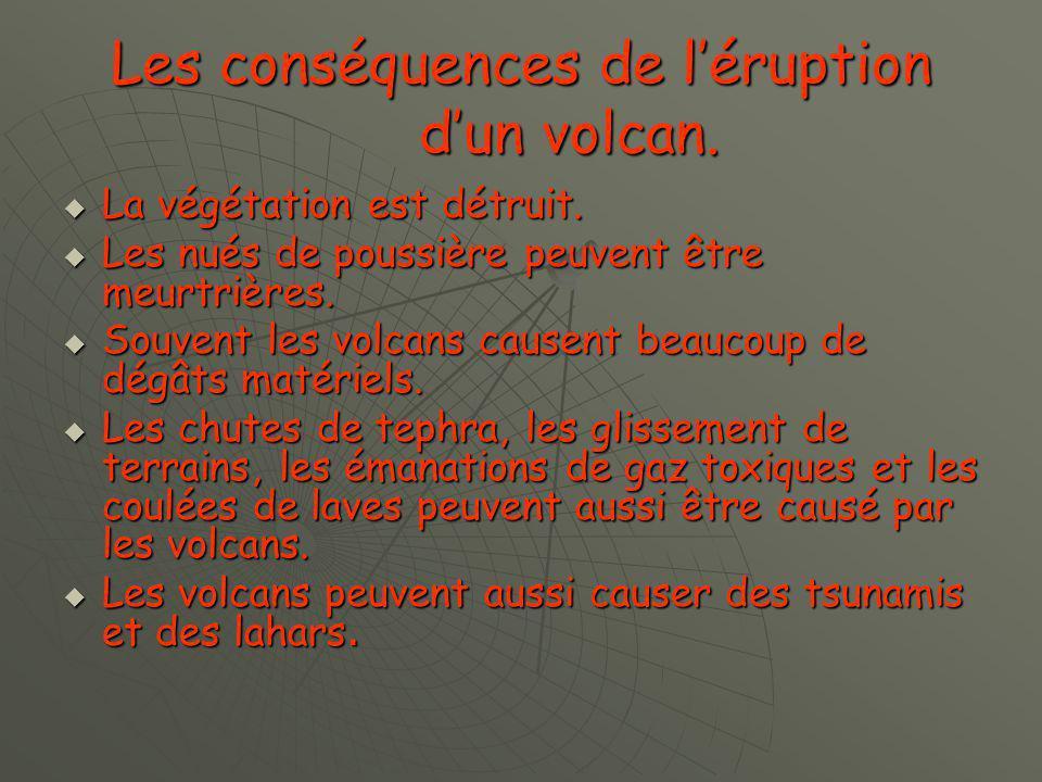 Les conséquences de l'éruption d'un volcan.