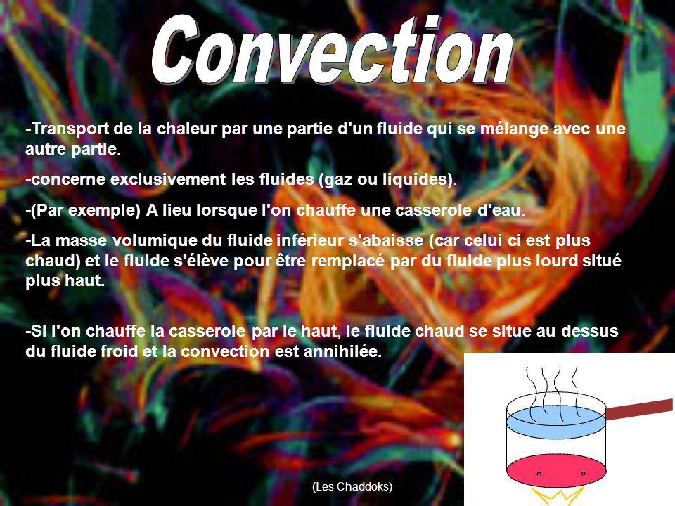 Convection -Transport de la chaleur par une partie d un fluide qui se mélange avec une autre partie.