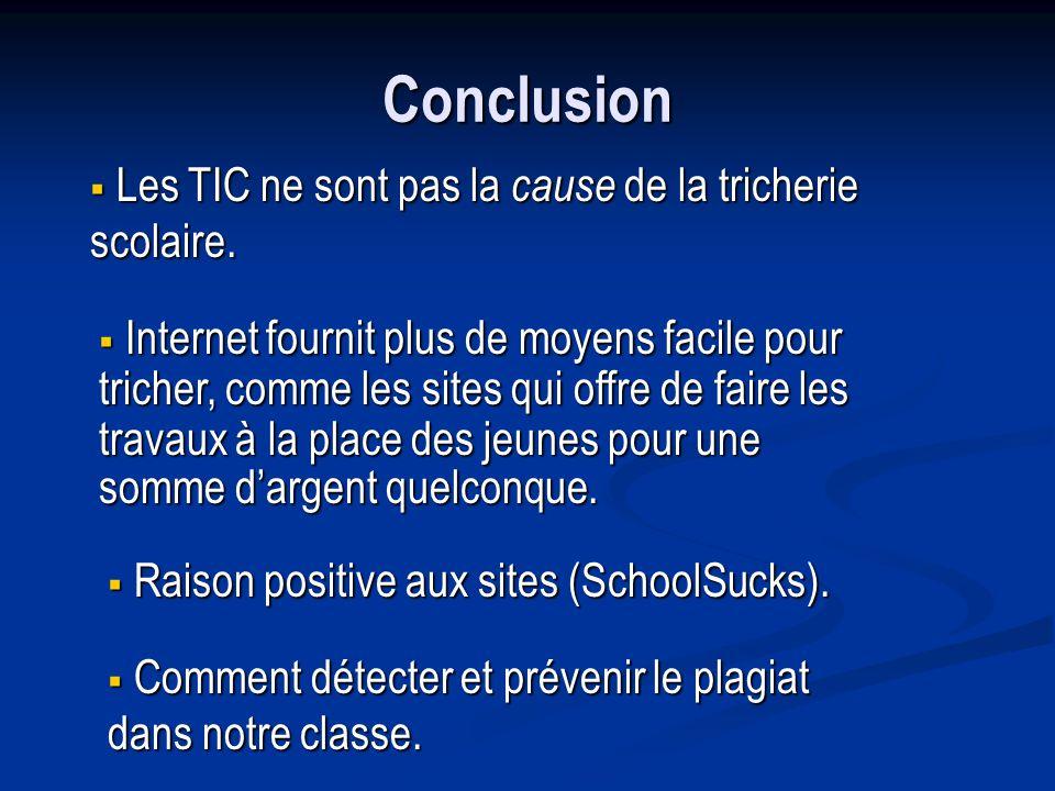 Conclusion Les TIC ne sont pas la cause de la tricherie scolaire.