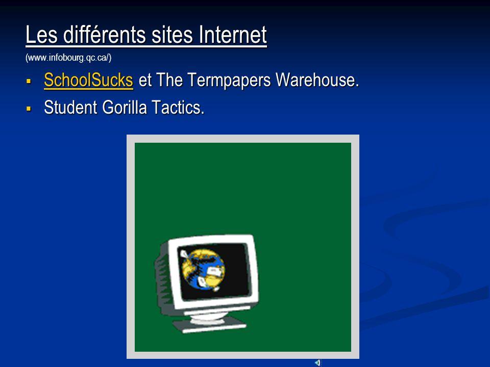 Les différents sites Internet