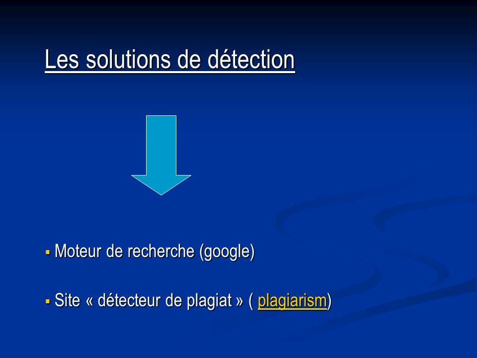 Les solutions de détection