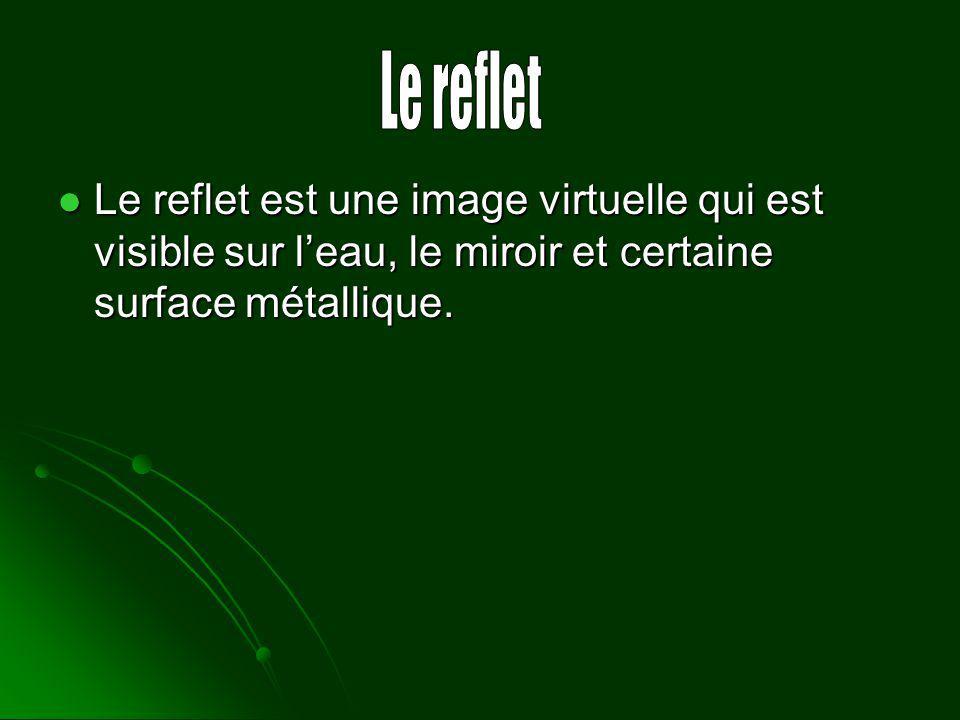 Le reflet Le reflet est une image virtuelle qui est visible sur l'eau, le miroir et certaine surface métallique.