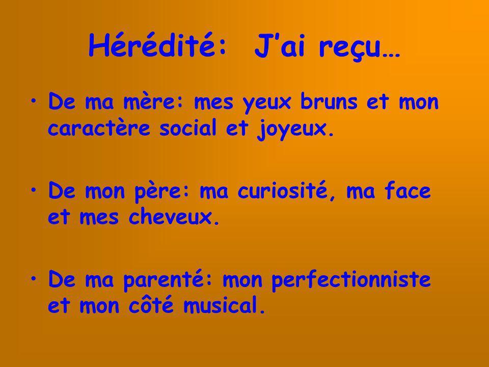 Hérédité: J'ai reçu… De ma mère: mes yeux bruns et mon caractère social et joyeux. De mon père: ma curiosité, ma face et mes cheveux.