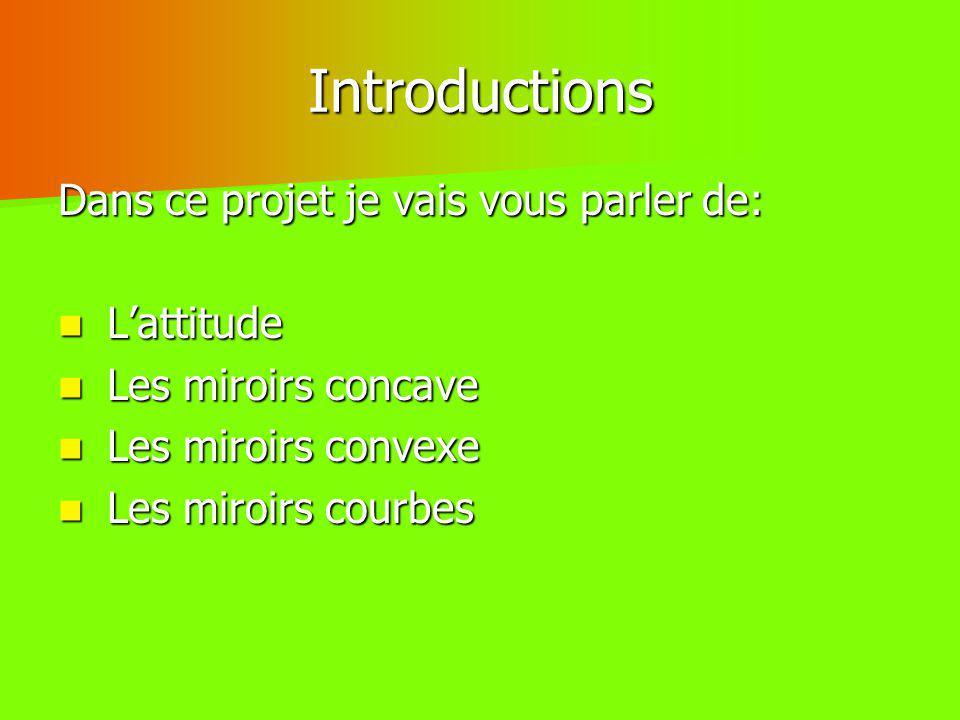 Introductions Dans ce projet je vais vous parler de: L'attitude