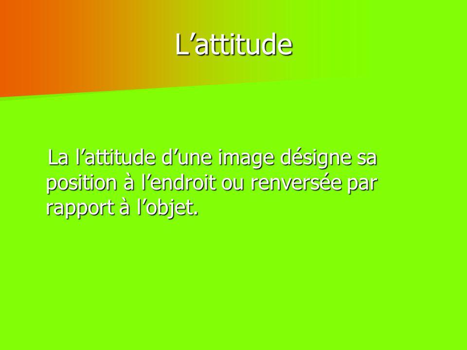 L'attitude La l'attitude d'une image désigne sa position à l'endroit ou renversée par rapport à l'objet.