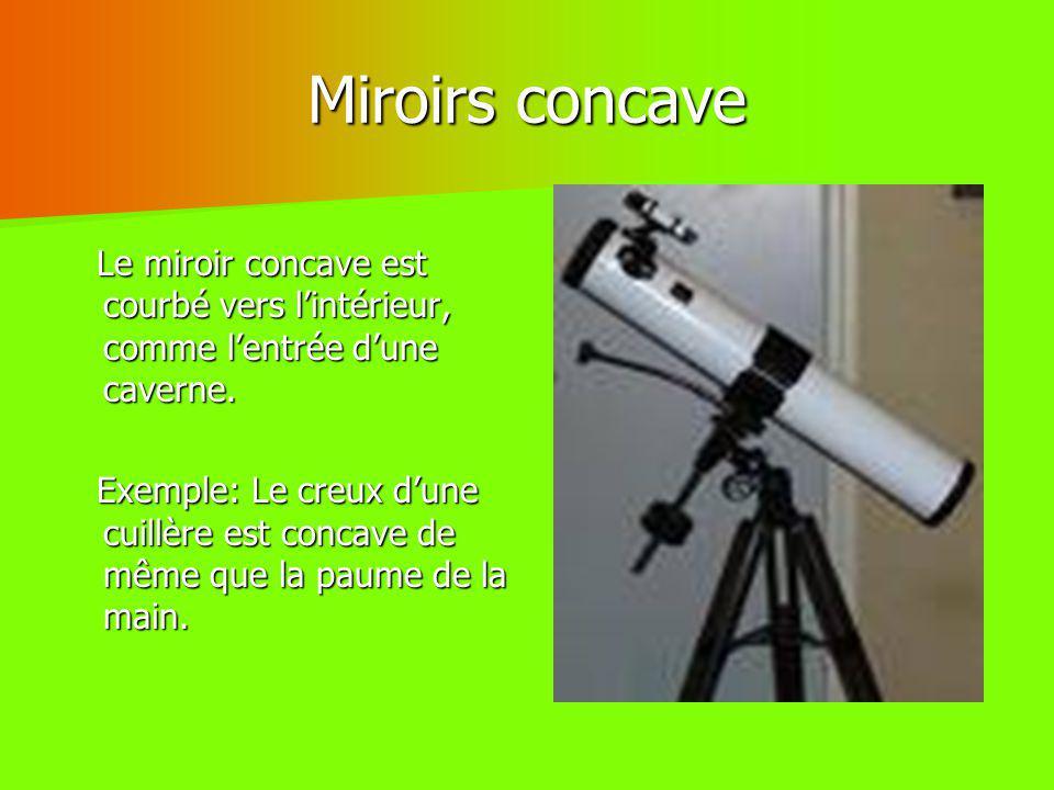 Miroirs concave Le miroir concave est courbé vers l'intérieur, comme l'entrée d'une caverne.