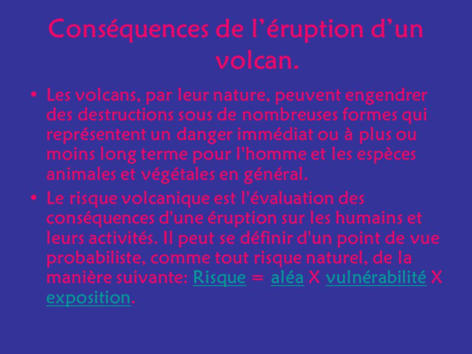 Conséquences de l'éruption d'un volcan.