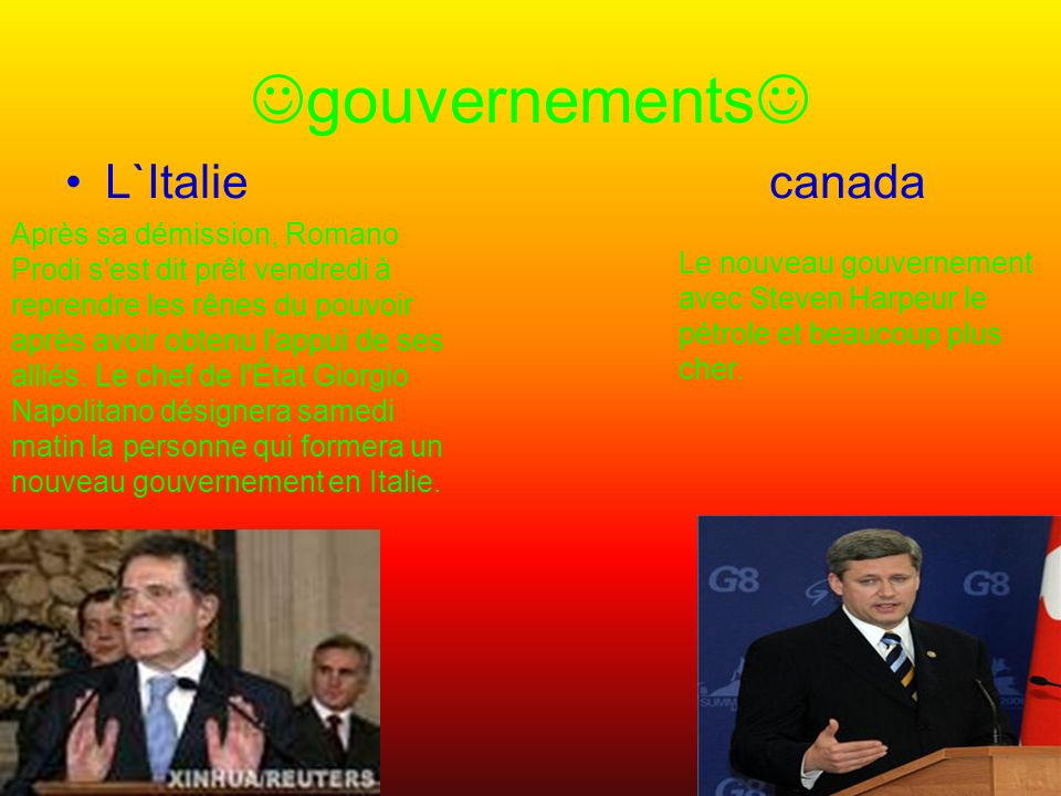 gouvernements L`Italie canada