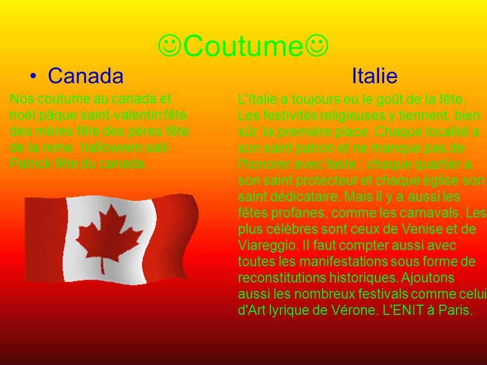 Coutume Canada Italie