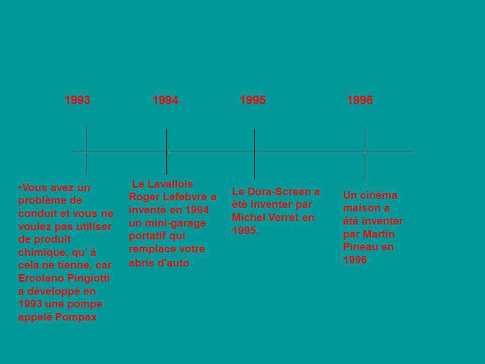1993 1994. 1995. 1996. Le Lavallois Roger Lefebvre a inventé en 1994 un mini-garage portatif qui remplace votre abris d auto.