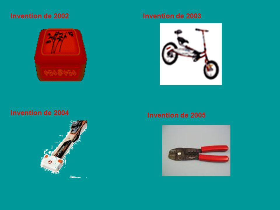 Invention de 2002 Invention de 2003 Invention de 2004 Invention de 2005