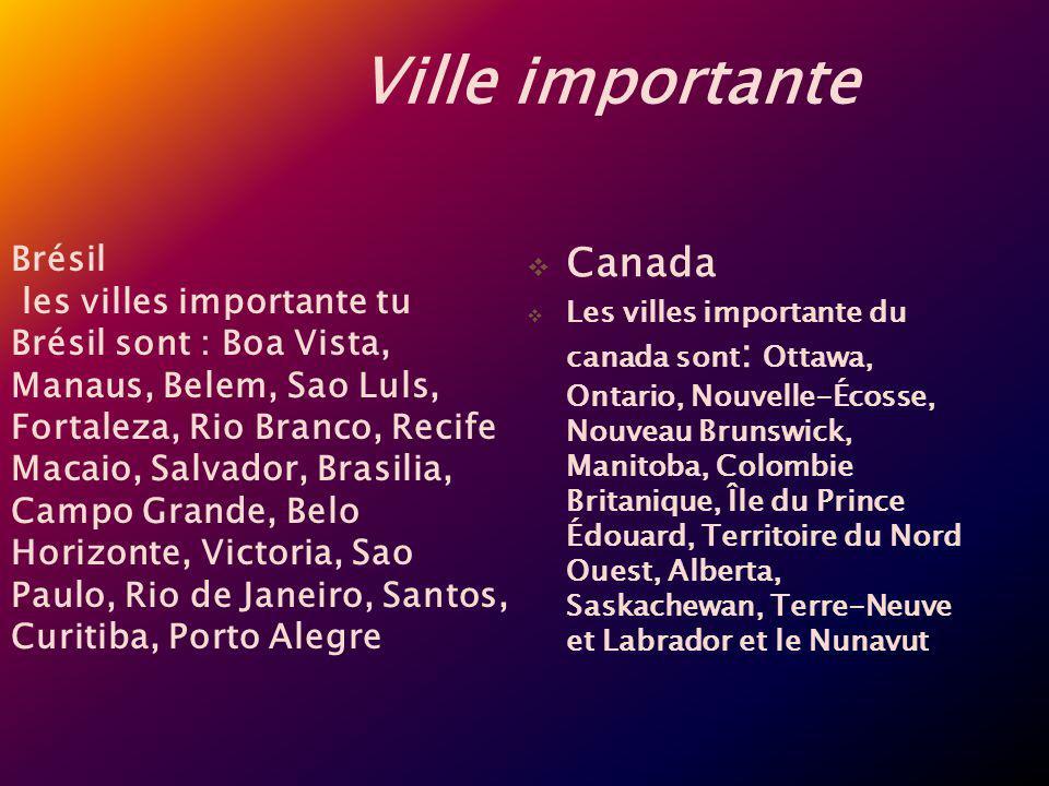 Ville importante Canada Brésil