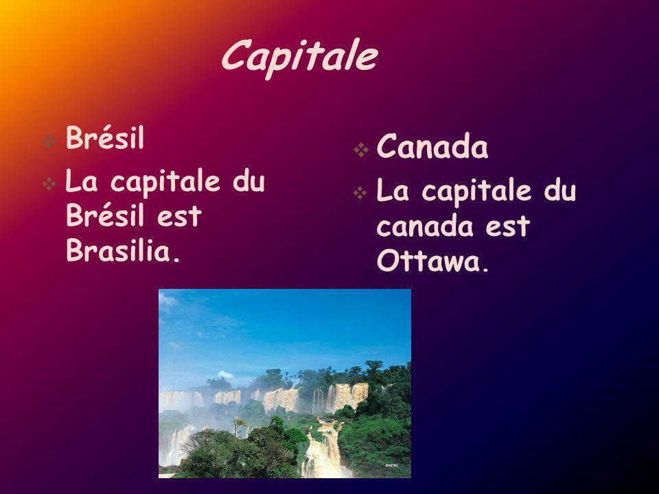 Capitale Canada Brésil La capitale du Brésil est Brasilia.