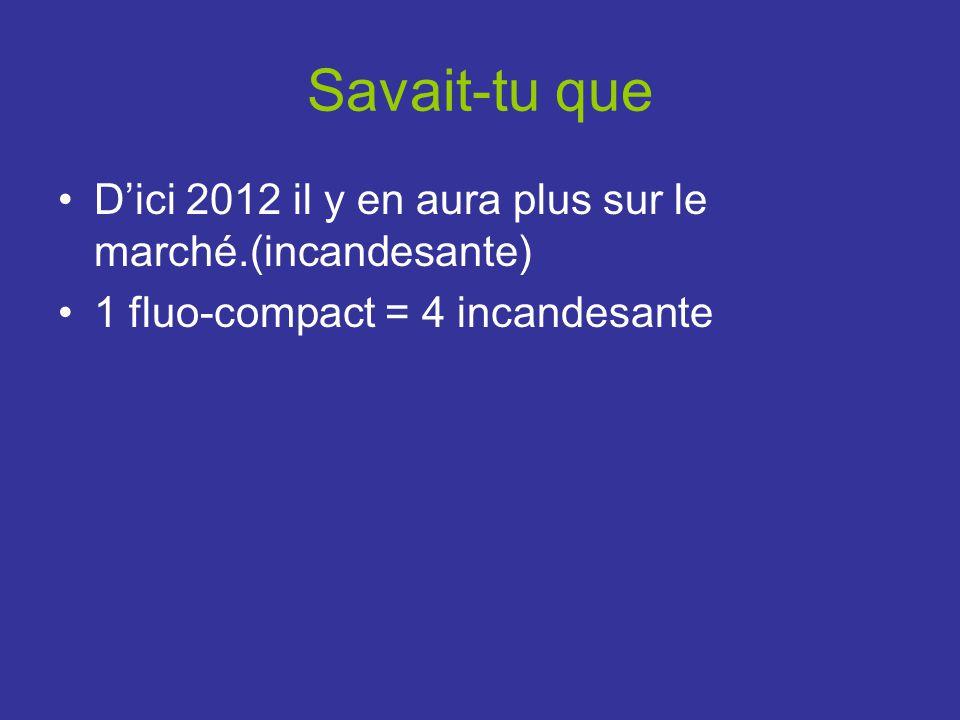 Savait-tu que D'ici 2012 il y en aura plus sur le marché.(incandesante) 1 fluo-compact = 4 incandesante.