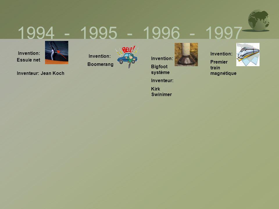 1994 - 1995 - 1996 - 1997 Invention: Invention: Essuie net Invention: