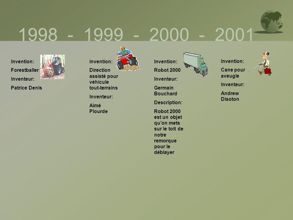 1998 - 1999 - 2000 - 2001 Invention: Forestballer Inventeur: