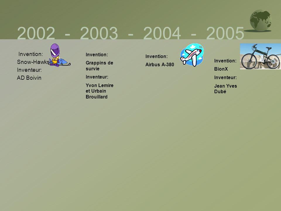 2002 - 2003 - 2004 - 2005 Invention: Snow-Hawks Inventeur: AD Boivin