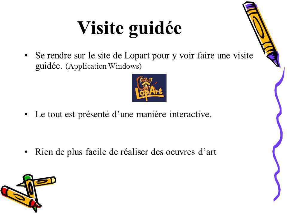 Visite guidée Se rendre sur le site de Lopart pour y voir faire une visite guidée. (Application Windows)