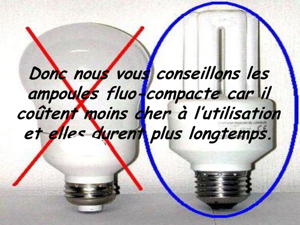 Donc nous vous conseillons les ampoules fluo-compacte car il coûtent moins cher à l'utilisation et elles durent plus longtemps.