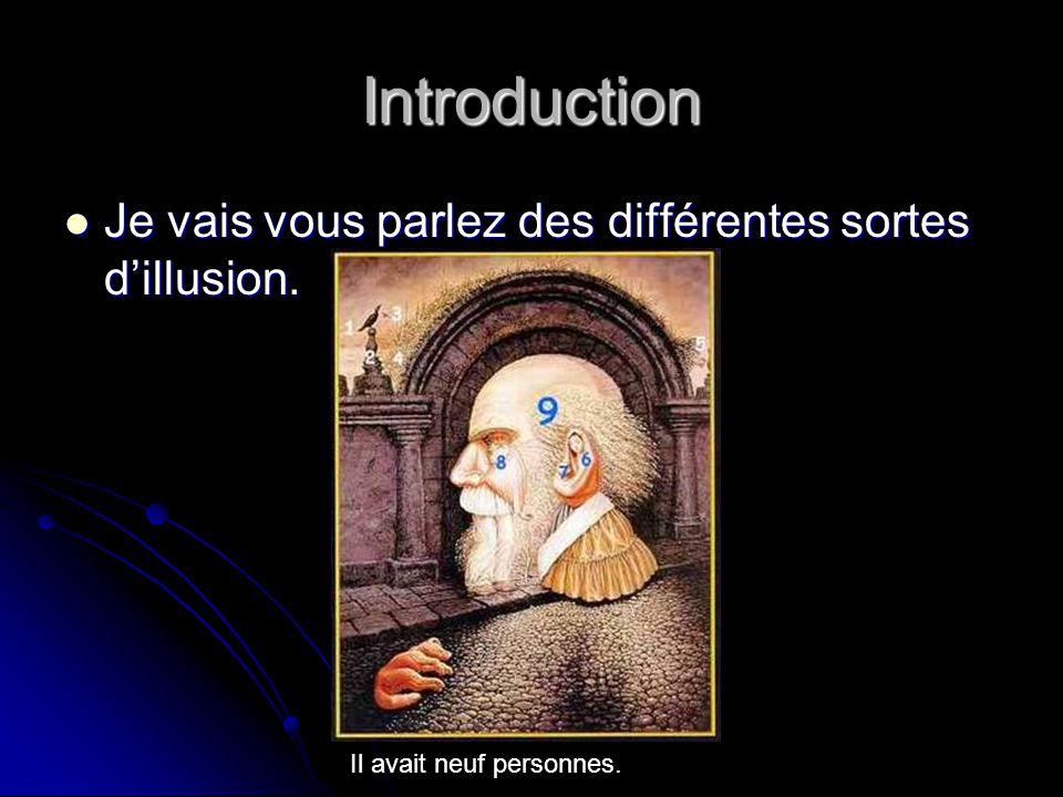 Introduction Je vais vous parlez des différentes sortes d'illusion.