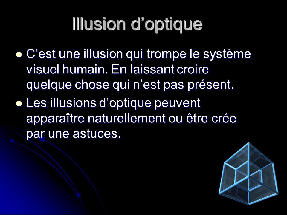 Illusion d'optique C'est une illusion qui trompe le système visuel humain. En laissant croire quelque chose qui n'est pas présent.