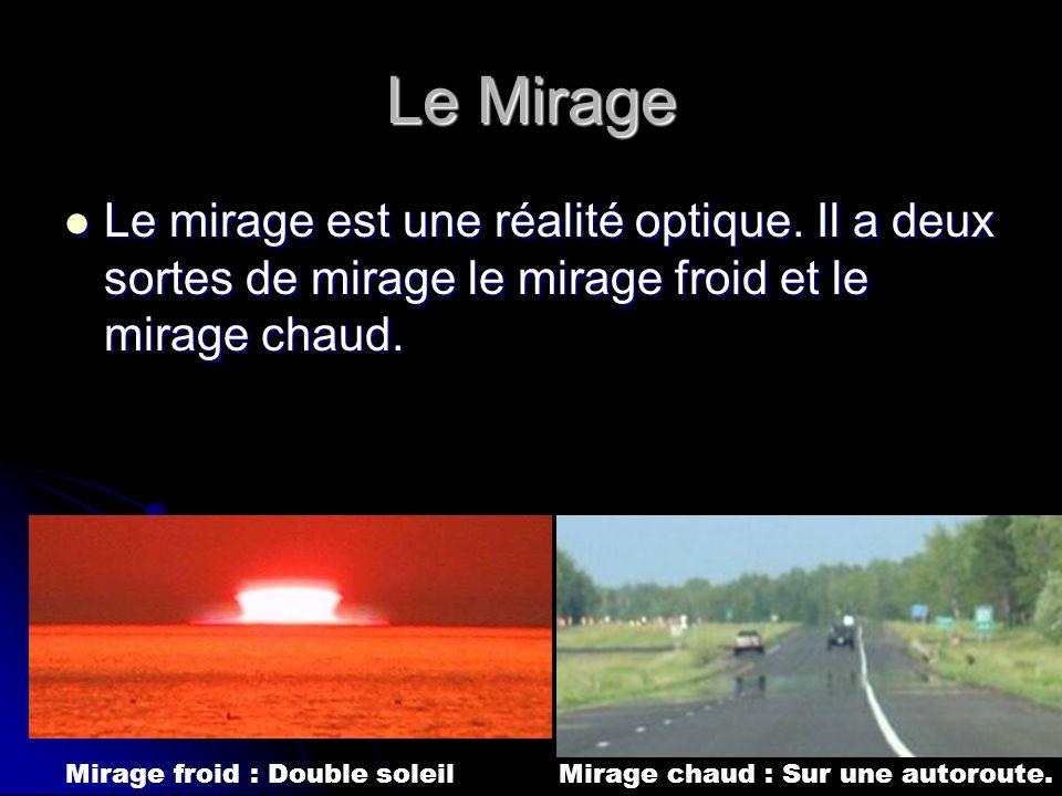 Le Mirage Le mirage est une réalité optique. Il a deux sortes de mirage le mirage froid et le mirage chaud.