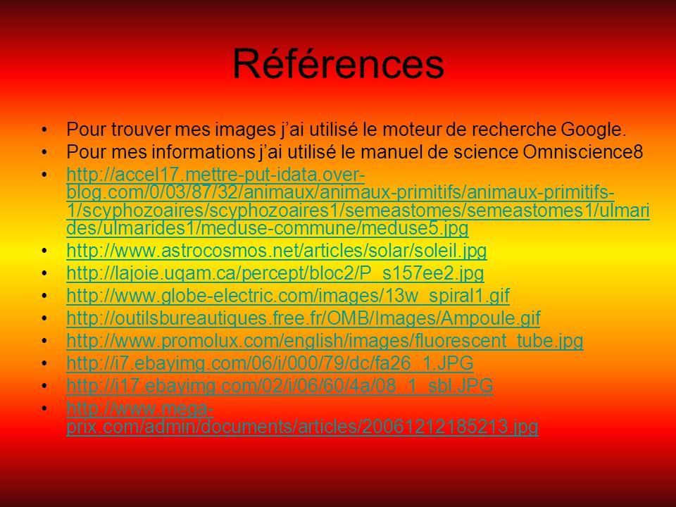 Références Pour trouver mes images j'ai utilisé le moteur de recherche Google. Pour mes informations j'ai utilisé le manuel de science Omniscience8.