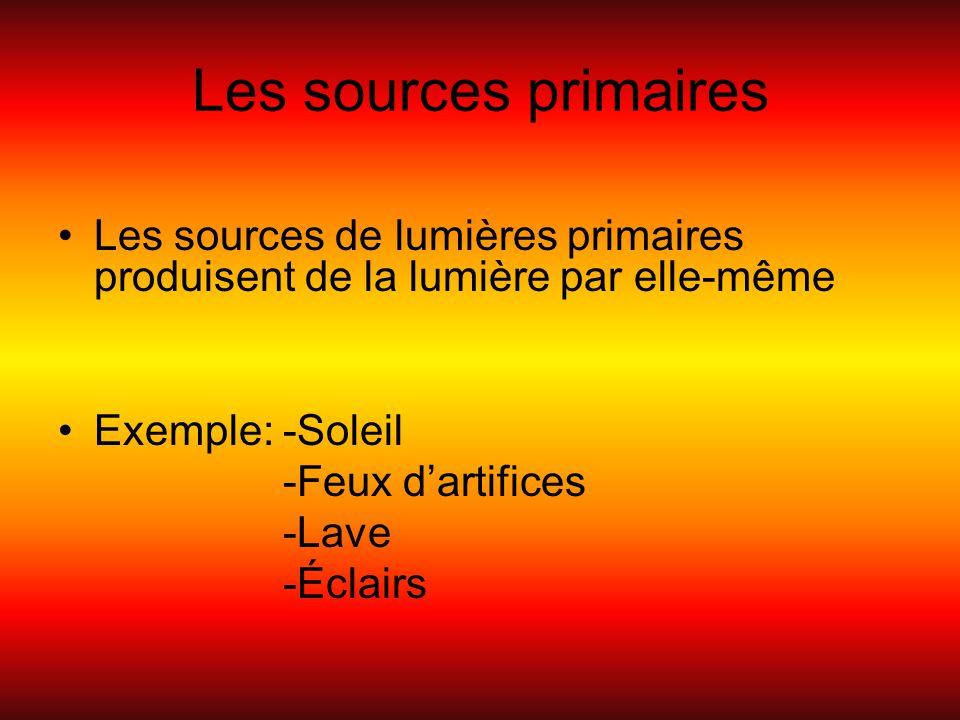 Les sources primaires Les sources de lumières primaires produisent de la lumière par elle-même. Exemple: -Soleil.