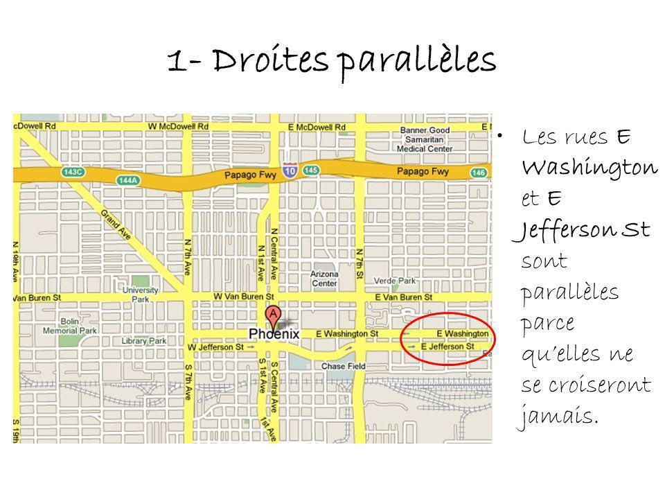 1- Droites parallèles Les rues E Washington et E Jefferson St sont parallèles parce qu'elles ne se croiseront jamais.