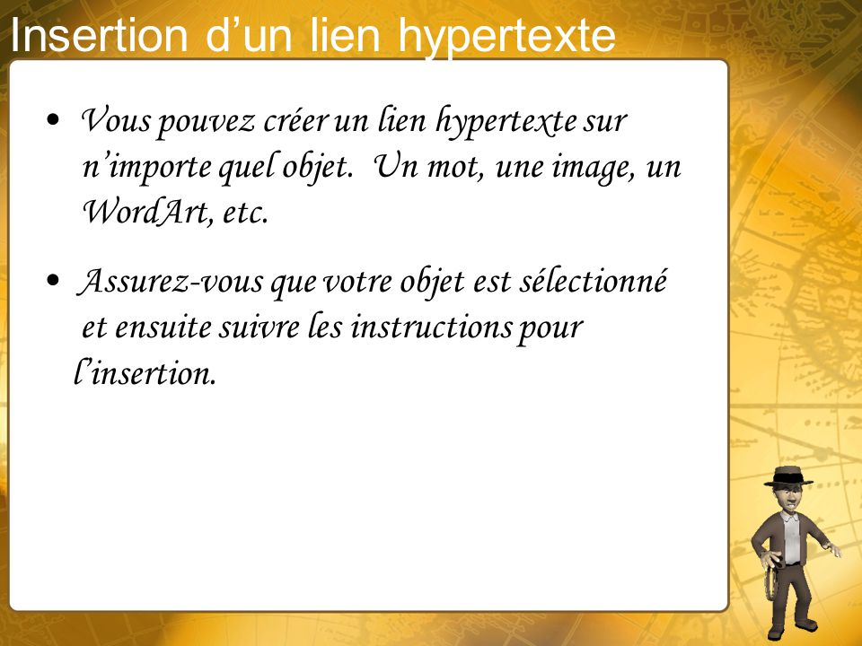 Insertion d'un lien hypertexte