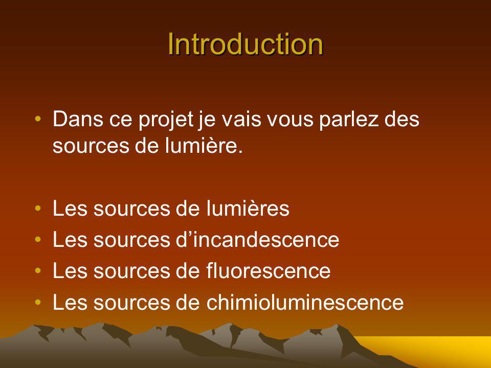 Introduction Dans ce projet je vais vous parlez des sources de lumière. Les sources de lumières. Les sources d'incandescence.