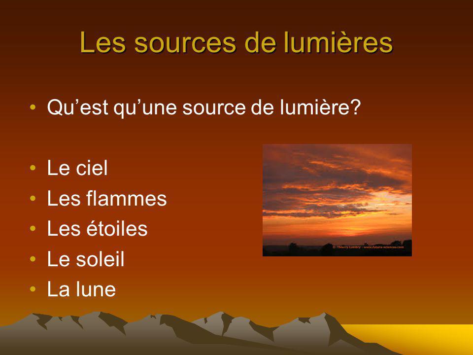 Les sources de lumières