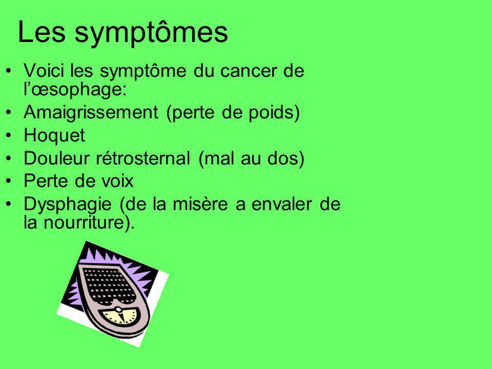 Les symptômes Voici les symptôme du cancer de l'œsophage: