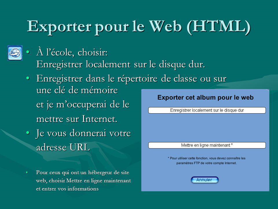 Exporter pour le Web (HTML)