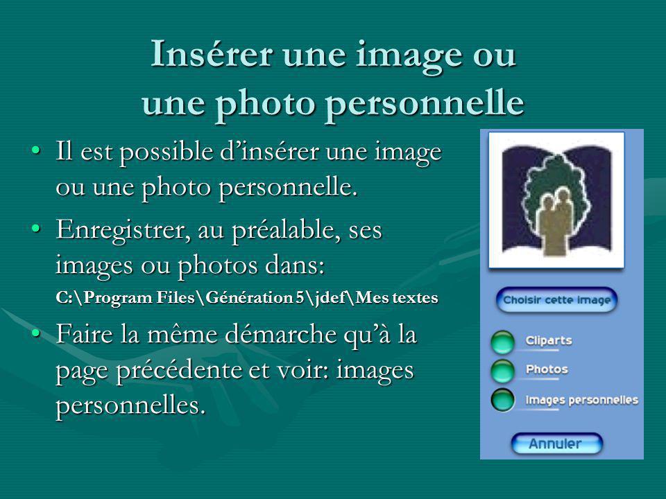 Insérer une image ou une photo personnelle